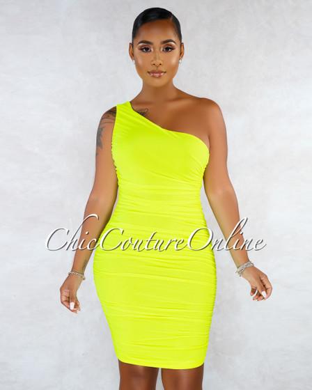 Kimber Neon Lemon Mesh Single Shoulder Dress