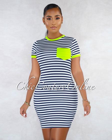 Dayanara Navy Blue White Neon Green Trim Body-Con Dress