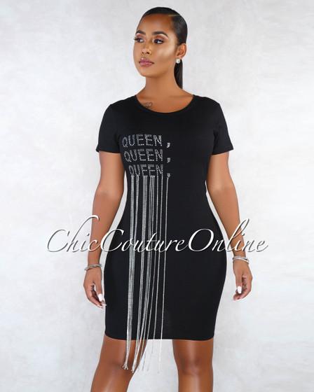 Babel Black Rhinestones Graphic Fringe Body-Con Dress