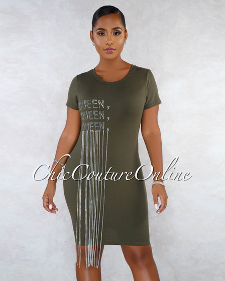 Babel Olive Green Rhinestones Graphic Fringe Body-Con Dress