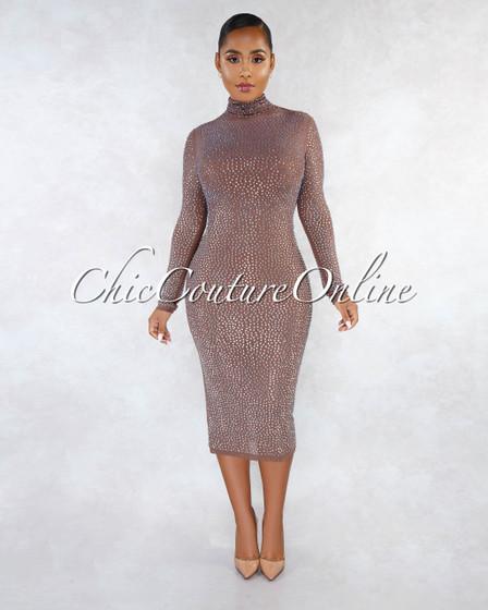 Kathiana Brown Iridescent Rhinestones Sheer Dress