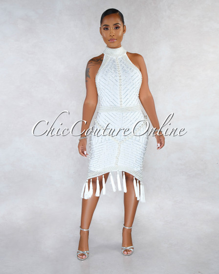 Milta Off-White Iridescent Rhinestone Pearl Tassel Accent Dress