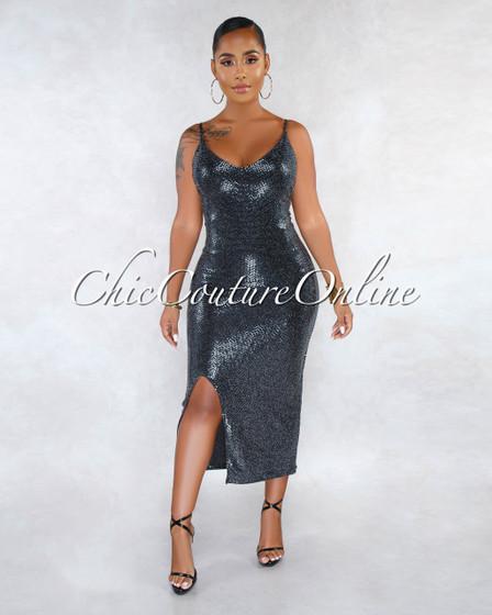Faricea Black Silver Sequins Side Slit Midi Dress