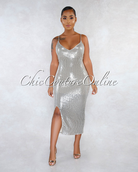 Faricea Nude Gold Silver Sequins Side Slit Midi Dress