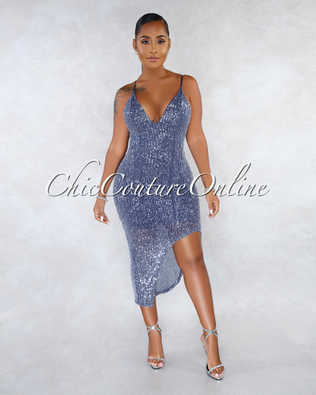 Rocca Navy Blue Silver Sequins Side Slit Midi Dress