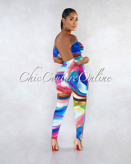Issa Multi-Color Wall Art Print Front Tie Jumpsuit