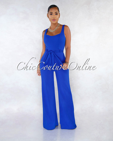 Corona Royal Blue Self-Tie Belt Jumpsuit