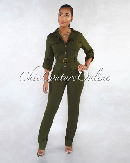 Jocelyn Olive Green Long Sleeves Utility Jumpsuit
