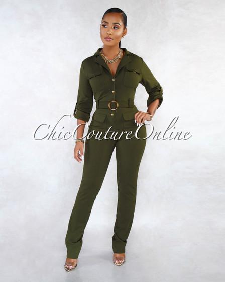 Jocelyn Olive Green Long Sleeves Utility Jumpsuit