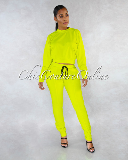 Luanda Neon Lime Sweat Pants Set