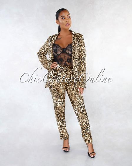 Caress Leopard Print Silky Jacket Two Piece Suit Set