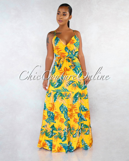 Wisconsin Mustard Multi Color Leaf Print Belt Maxi Dress