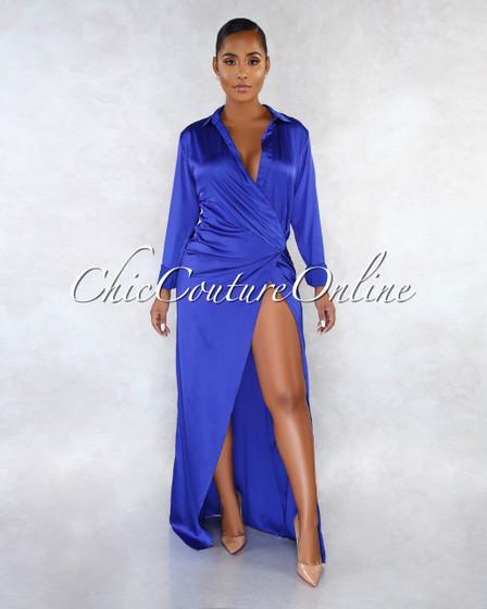 Acacia Royal Blue Silky Wrap Maxi Dress