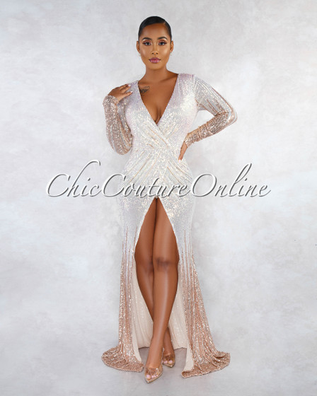 Shanie Nude Iridescent Sequins Drap Bodysuit Maxi Dress