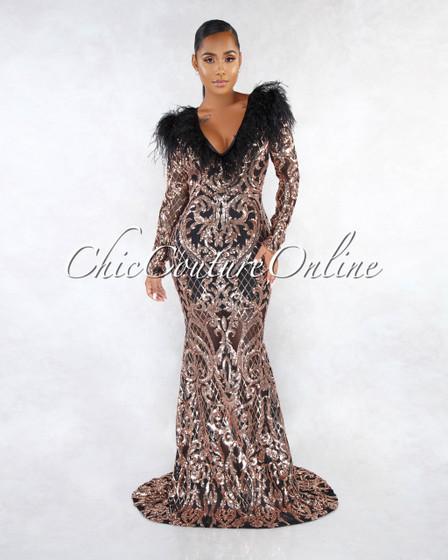 Harbour Black Rose Gold Sequins Feather Embellished Gown
