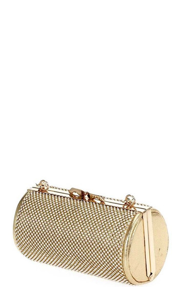 Tyana Gold Tube Shaped Pavé Rhinestones Clutch Bag