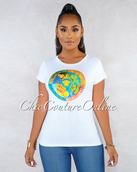 Armour White Multi-Color Graphic T-Shirt
