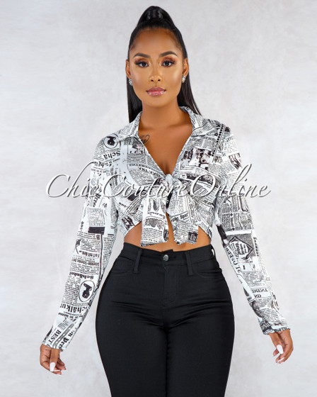 Diary Off-White Black Graphic Front Tie Crop Top