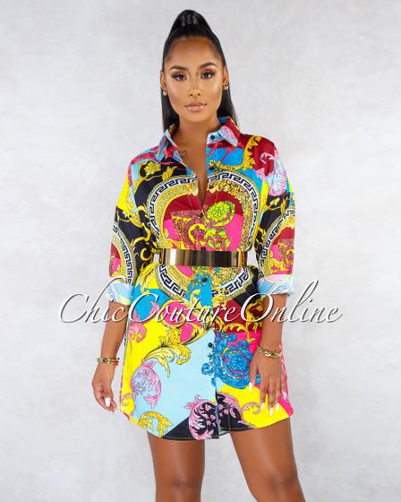Tropic Black Multi-Color Print Long Sleeves Shirt Dress