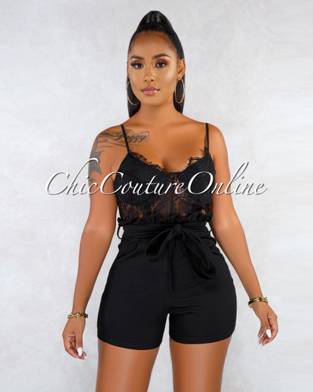 Malika Black Lace Sheer Top Romper