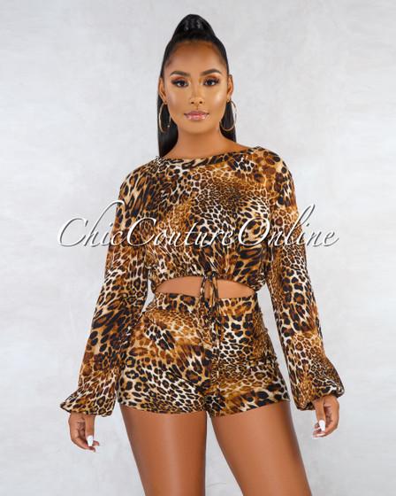 Vestali Leopard Print Ribbed Drawstring Sweater Two Piece Set