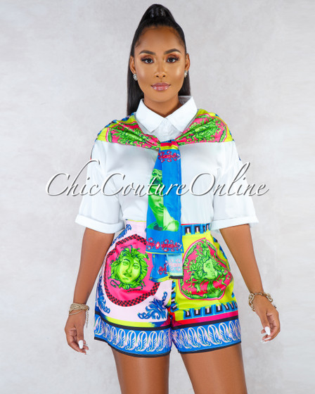 Mayo White Silky Blouse Multi-Color Shorts Two Piece Set