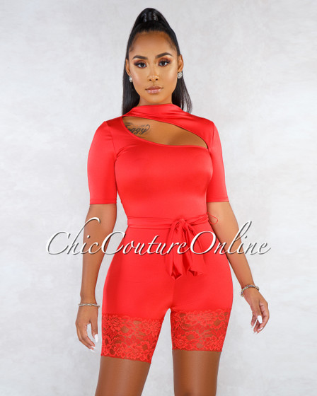 Darrin Red Top Cut-Out Lace Hem Silky Romper