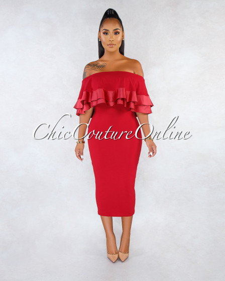 Zhara Burgundy Red Off-The-Shoulder Double Ruffle Dress