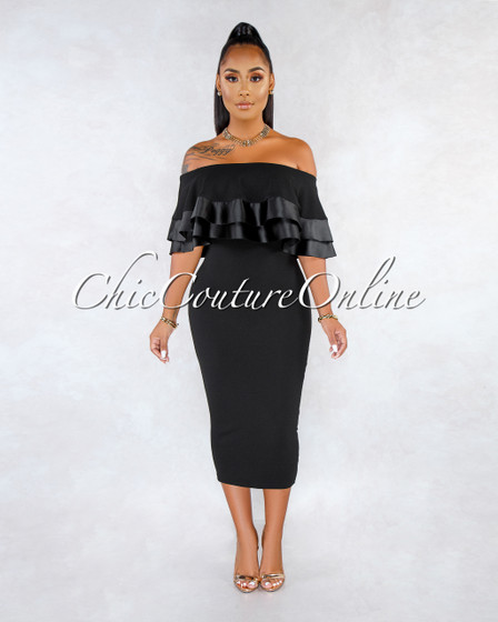 Zhara Black Off-The-Shoulder Double Ruffle Dress