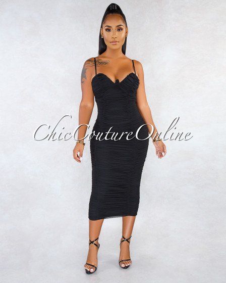 Seidel Black Ruched Padded Cups Midi Dress