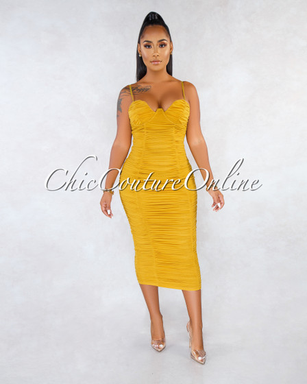 Seidel Mustard Ruched Padded Cups Midi Dress