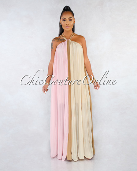 Weston Pink Mocha Nude Pleated Halter Maxi Dress