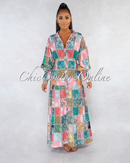Donaldson Salmon Multi-Color Paisley Print Shirt Maxi Dress