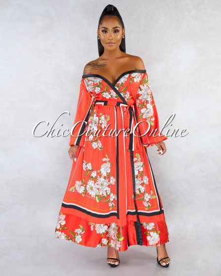 Paula Orange Floral Print Pleated Wrap Maxi Dress