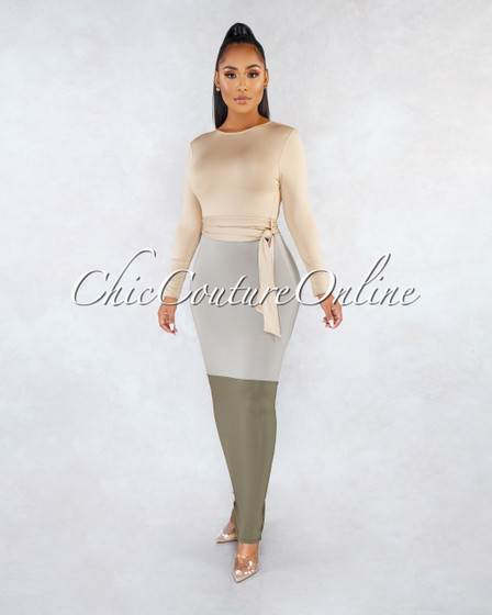 Minory Nude Olive Color Block Cut-Out Maxi Dress