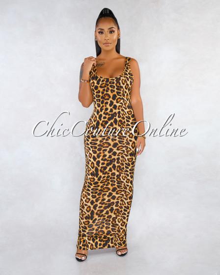 Tyra Brown Leopard Print Maxi Dress