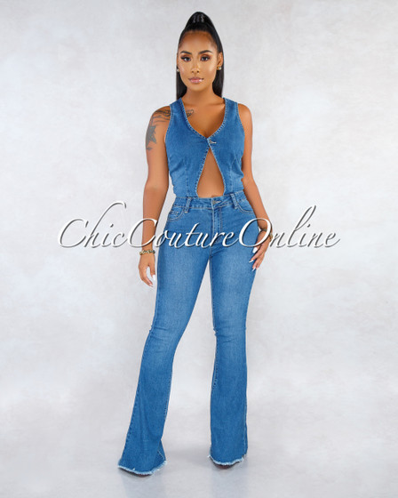 Laibah Blue Denim Front Cut-Out Bell Legs Jumpsuit