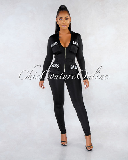 BOSS BABE Black Front Zipper White Graphic Jumpsuit