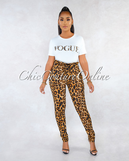 Vogue Off-White T-Shirt Leopard Print Pants Two Piece Set
