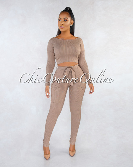 Maeryn Brown Ribbed Cargo Pants Two Piece Set