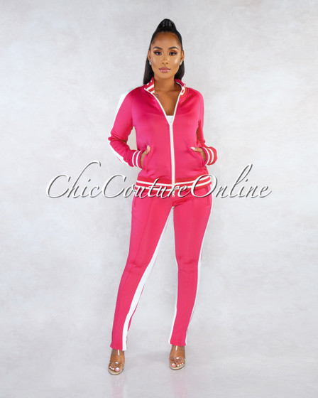 Madrona Fuchsia White Track Suit Snap Two Piece Set