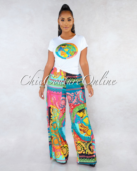 Madge Black Multi-Color Print Wide Pants