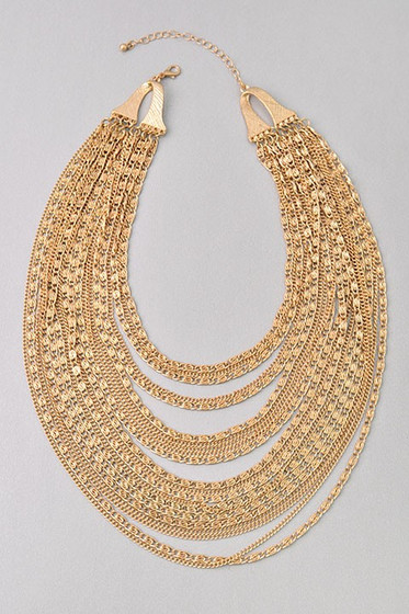 Lorelai Golden Multi Strand Statement Necklace