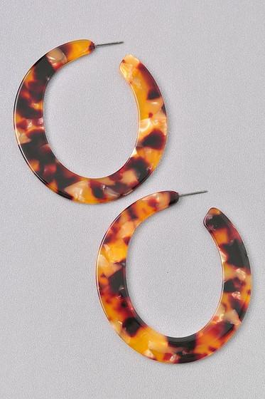 Millie Brown Tortoise Dangle Hoop Earrings