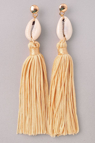 Nikia Ivory Shell Tassel Dangle Earrings