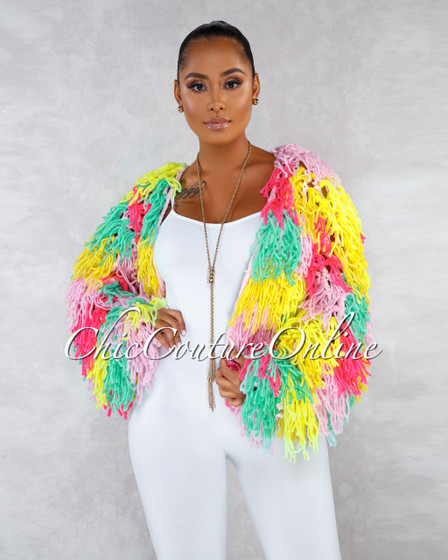 Lorissa Multi Color Neon Crochet Fury Jacket