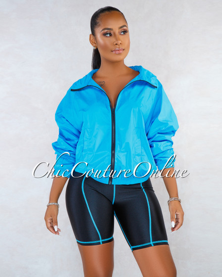Bindy Neon Blue Over-sized Jacket Bike Shorts Set