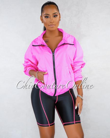 Bindy Neon Pink Over-sized Jacket Bike Shorts Set