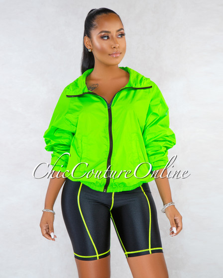 Bindy Neon Green Over-sized Jacket Bike Shorts Set