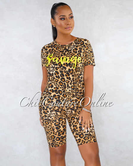 Savage Leopard Print Neon Green Graphic CURVACEOUS Set
